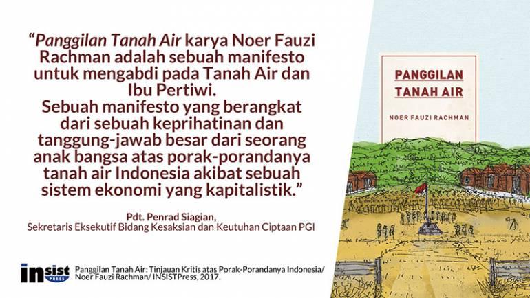 Panggilan Tanah Air adalah sebuah manifesto untuk mengabdi pada Tanah Air dan Ibu Pertiwi